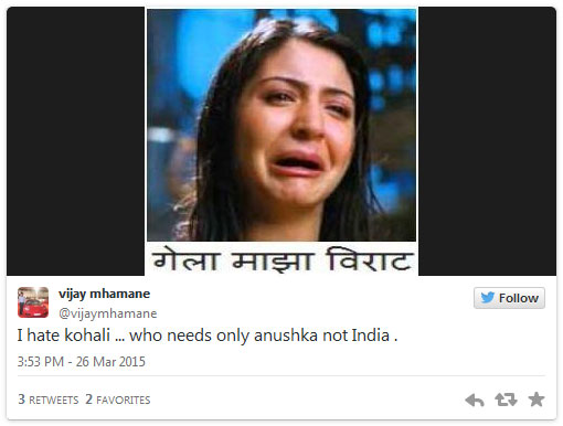 Virat Kohli and Anushka Sharma Tweets