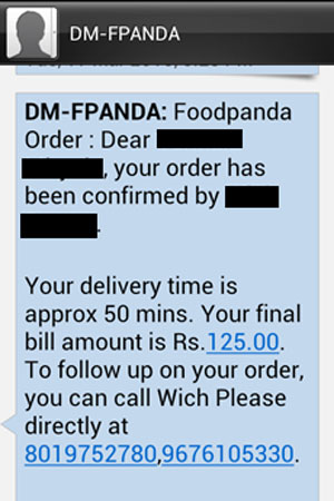 FoodPanda Order Confirmation