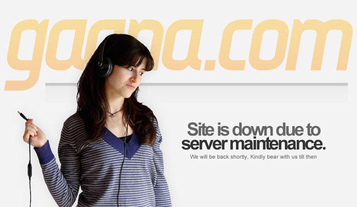 Gaana.com website is down due to server maintenance