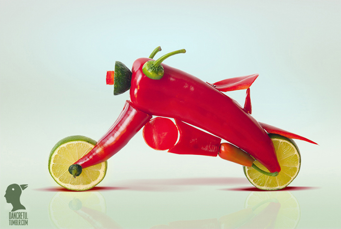 Food Sculptures Hot Motorbike