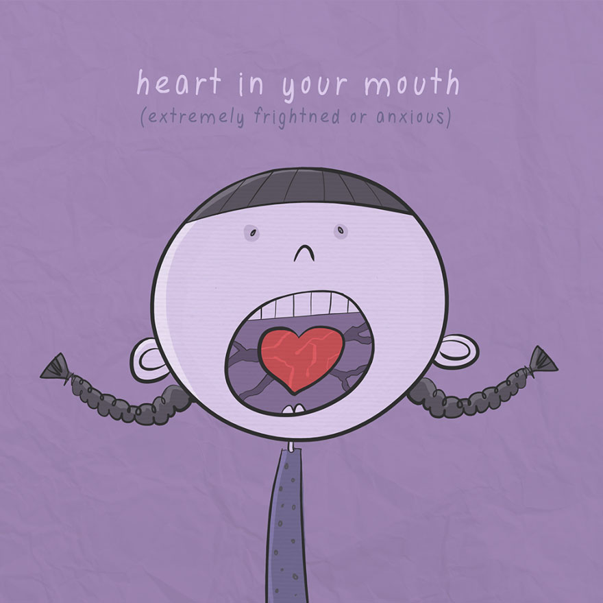 English idiom - Heart in your mouth