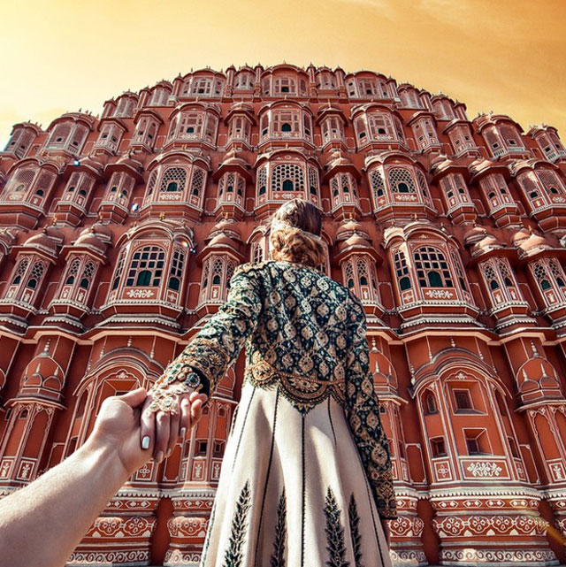Murad Osmann chased to Hawa Mahal, Jaipur