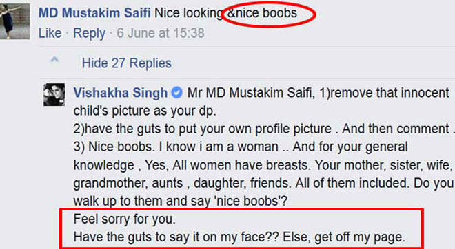 Nice boobs comment on Vishakha Singh's photo