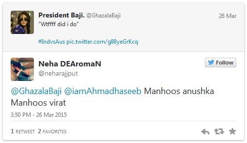 Virat Kohli and Anushka Sharma Tweets