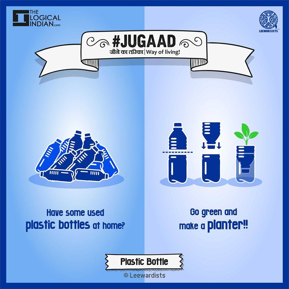 Plastic bottles to flowerpots