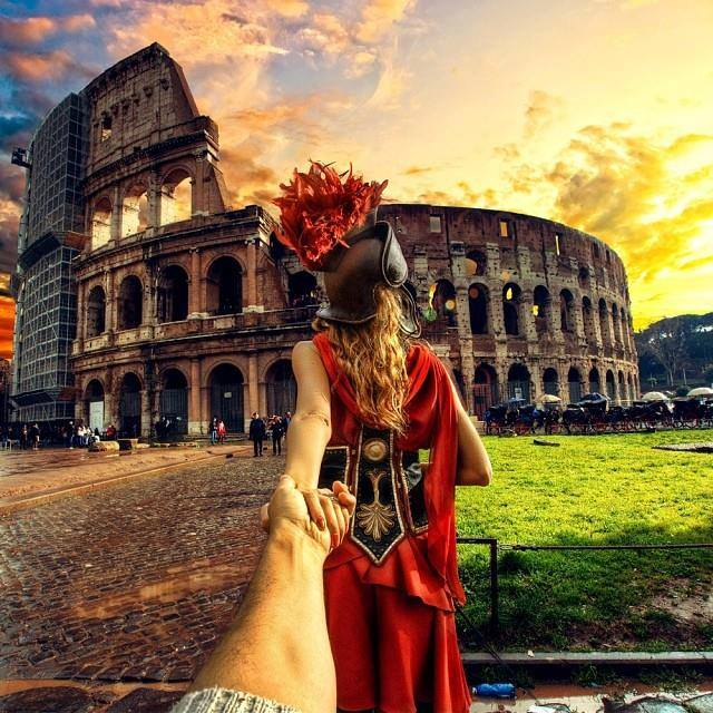 Murad Osmann chased to Roman Colosseum, Italy