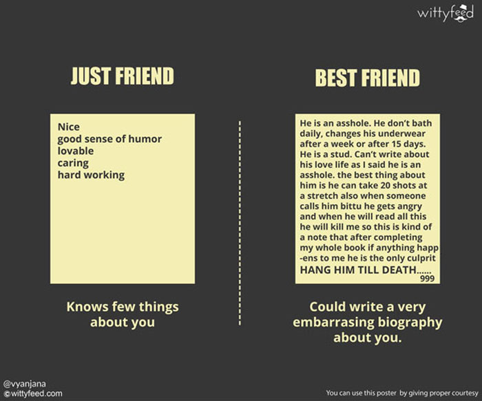 Best friend knows you better than your family.