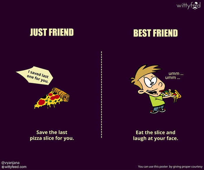 Your best friend cares about you. He will shamelessly steal last slice of pizza so you don't get fat.