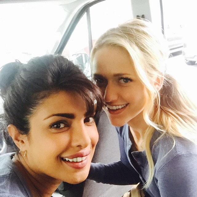 Priyanka Chopra Leading American TV Show Quantico - Selfie time with her co-star Johanna Braddy.