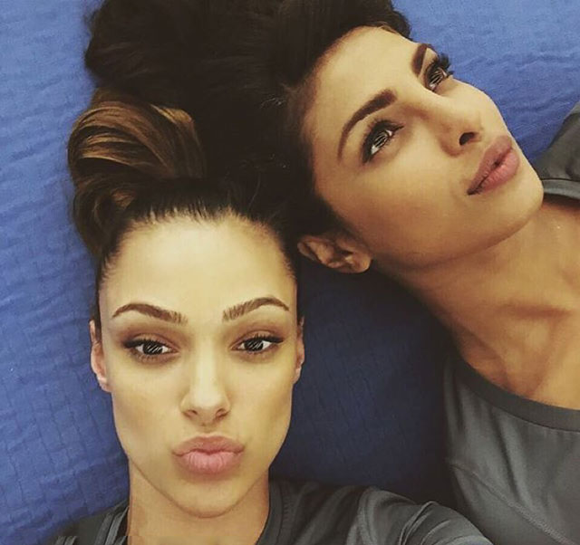 Priyanka Chopra Leading American TV Show Quantico - She and Anabelle Acosta about to shoot knife combat fight scene but first selfies.