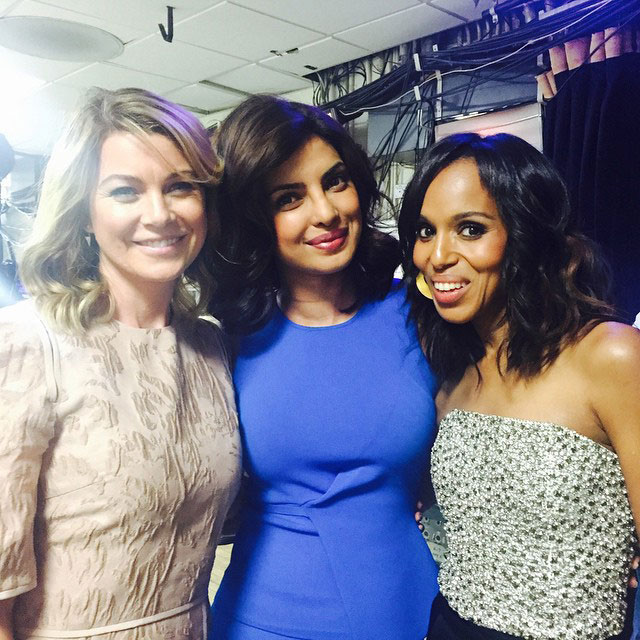 Here's a picture with Scandal's Kerry Washington and Grey's Anatomy star Ellen Pompeo, cementing Chopra's addition into the ABC family.